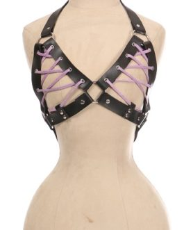 Black Faux Leather Lace-Up Bra Top – Lavender