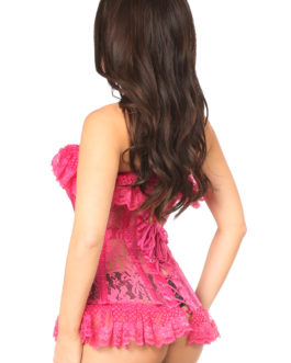 Lavish Fuchsia Sheer Lace Corset