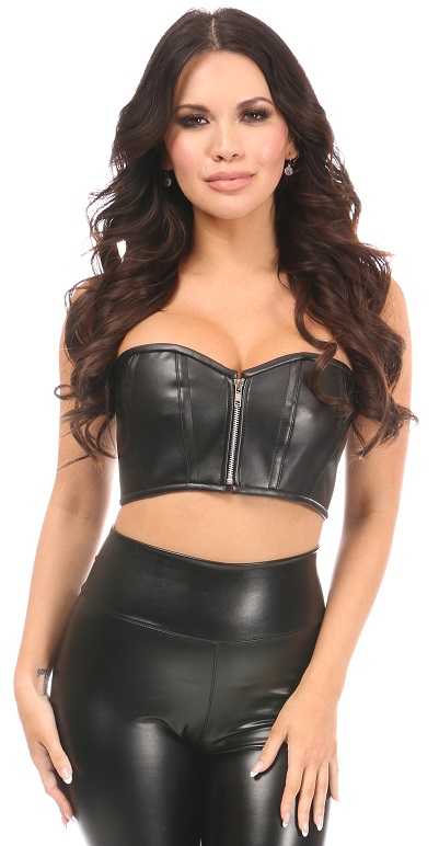 Lavish Black Faux Leather Short Bustier Top DASLV-745