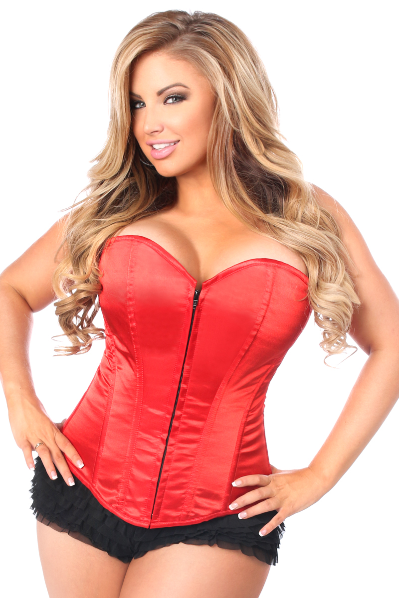 Lavish Red Sweetheart Front Zipper Corset DASLV-77