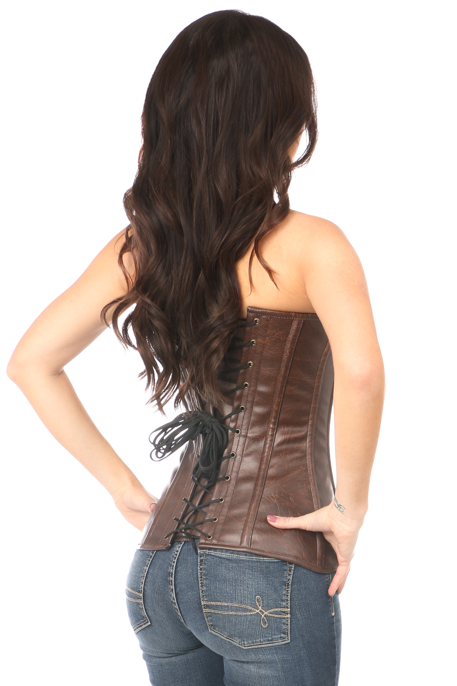 Top Drawer Distressed Brown Faux Leather Steel Boned Corset DASTD-053