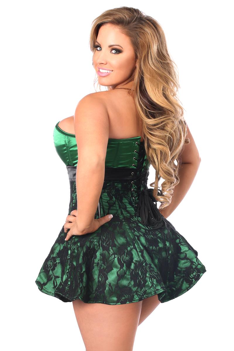 Top Drawer Plus Size Green Lace Steel Boned Corset Dress DASTD-130