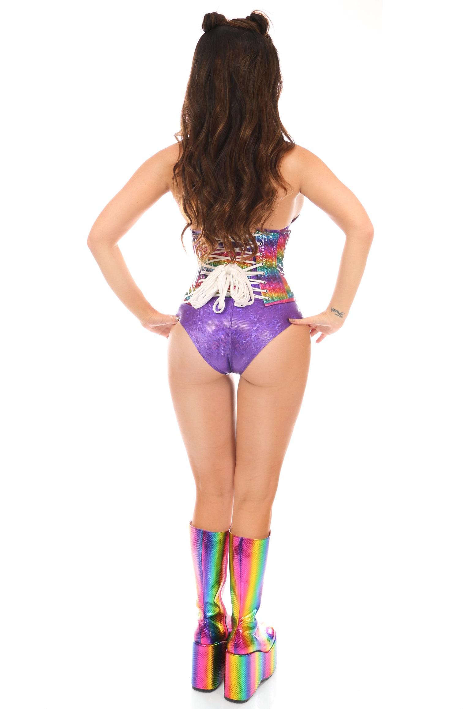Top Drawer Rainbow Glitter Holo Steel Boned Mini Under Bust Corset DASTD-1332