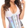 Top Drawer Faux Leather Collared Steel Boned Corset DASTD-278