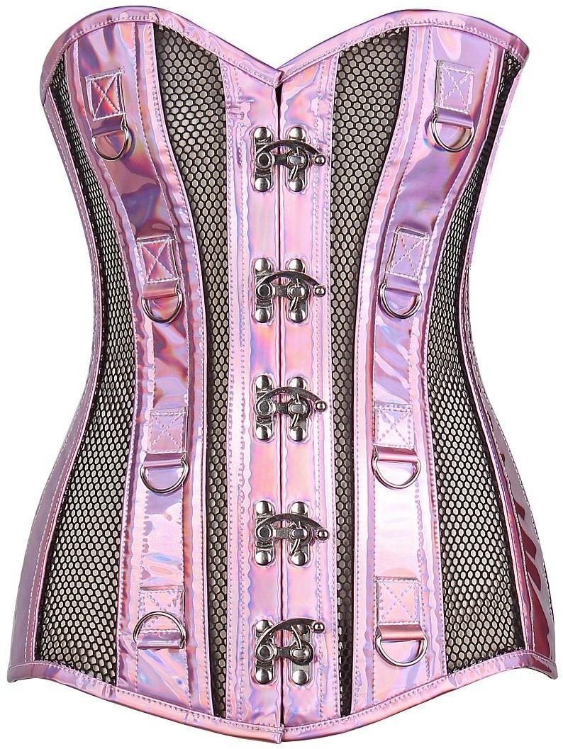 Top Drawer Pink Holo & Black Fishnet Steel Boned Over Bust Corset DASTD-1399