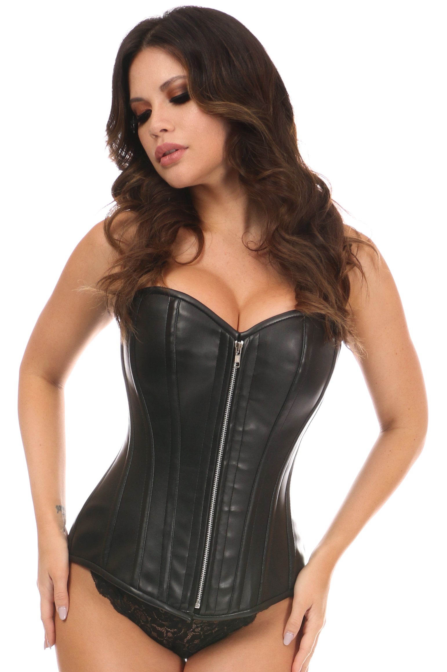 Top Drawer Black Faux Leather Steel Boned Overbust Corset DASTD-1447