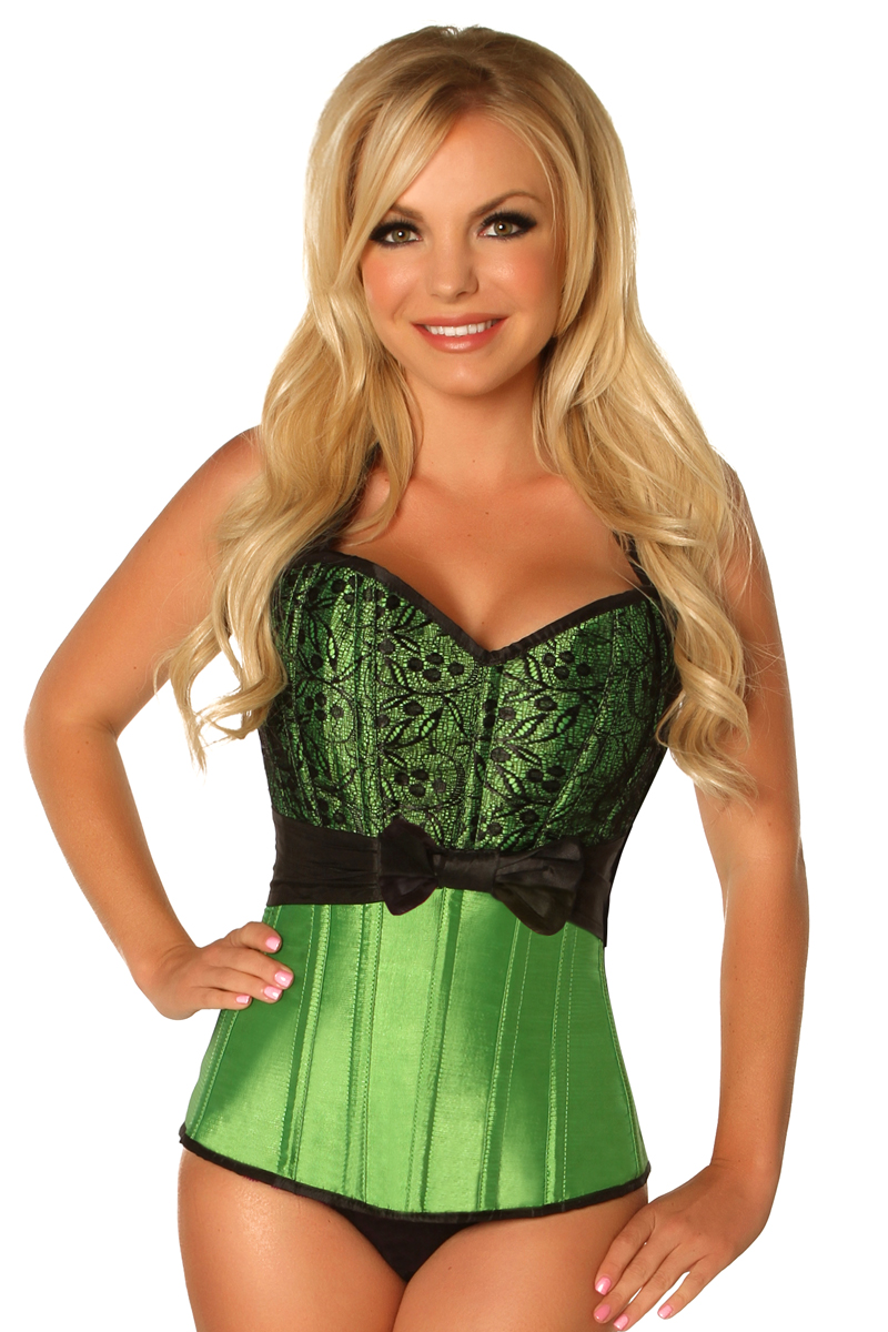 Top Drawer Plus Size Green Lace & Bow Halter Steel Boned Corset DASTD-476