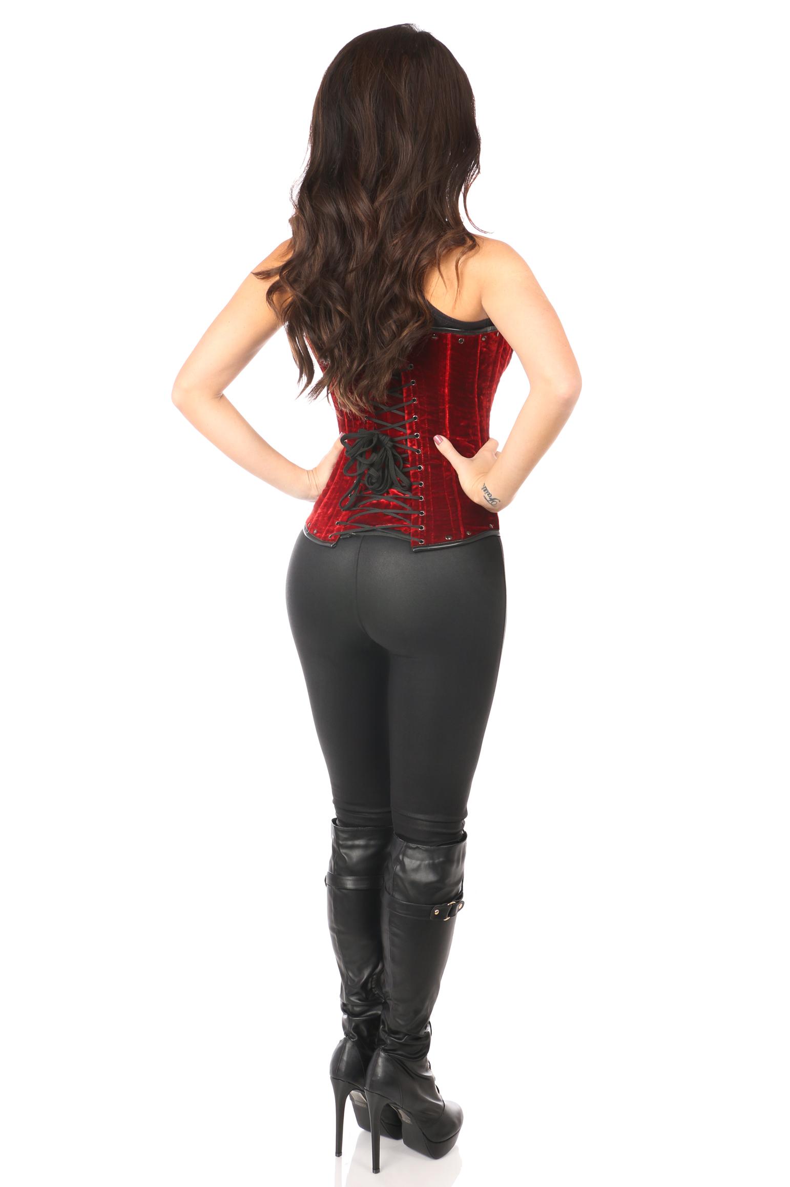 Top Drawer Steel Boned Red Velvet Underbust Corset w/Buckling DASTD-479
