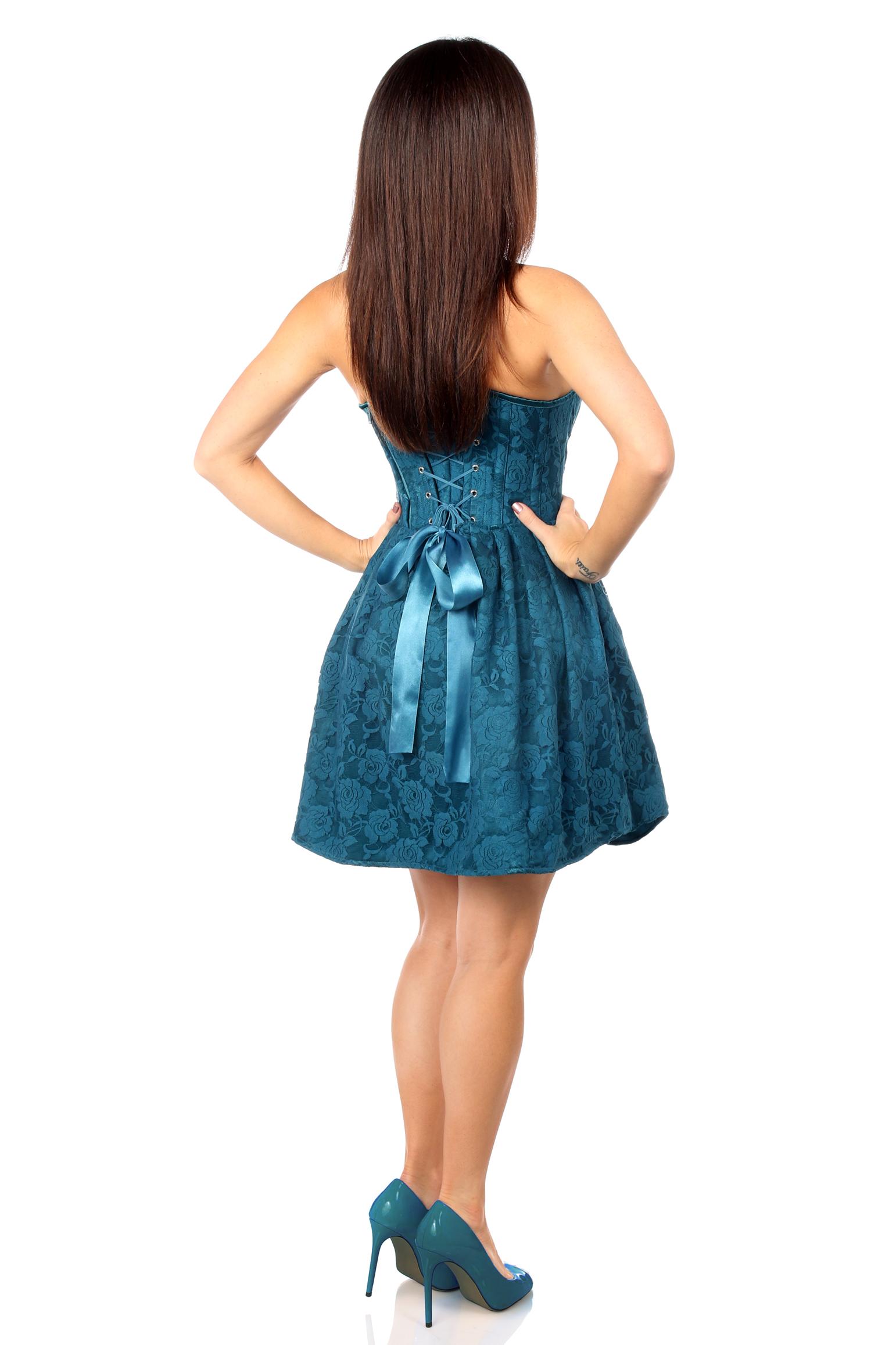 Top Drawer Steel Boned Dark Teal Lace Empire Waist Corset Dress DASTD-594