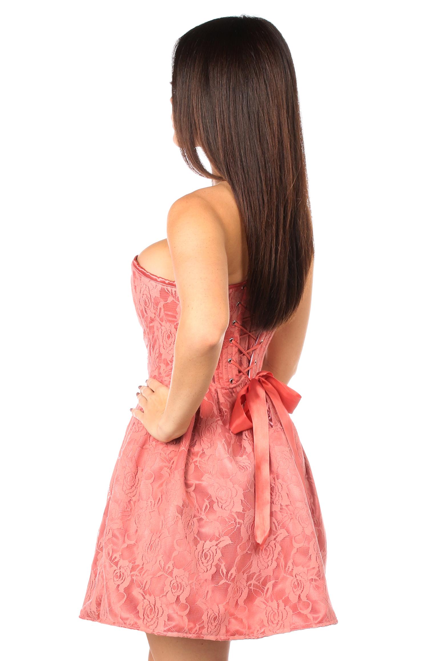 Top Drawer Steel Boned Coral Lace Empire Waist Corset Dress DASTD-596