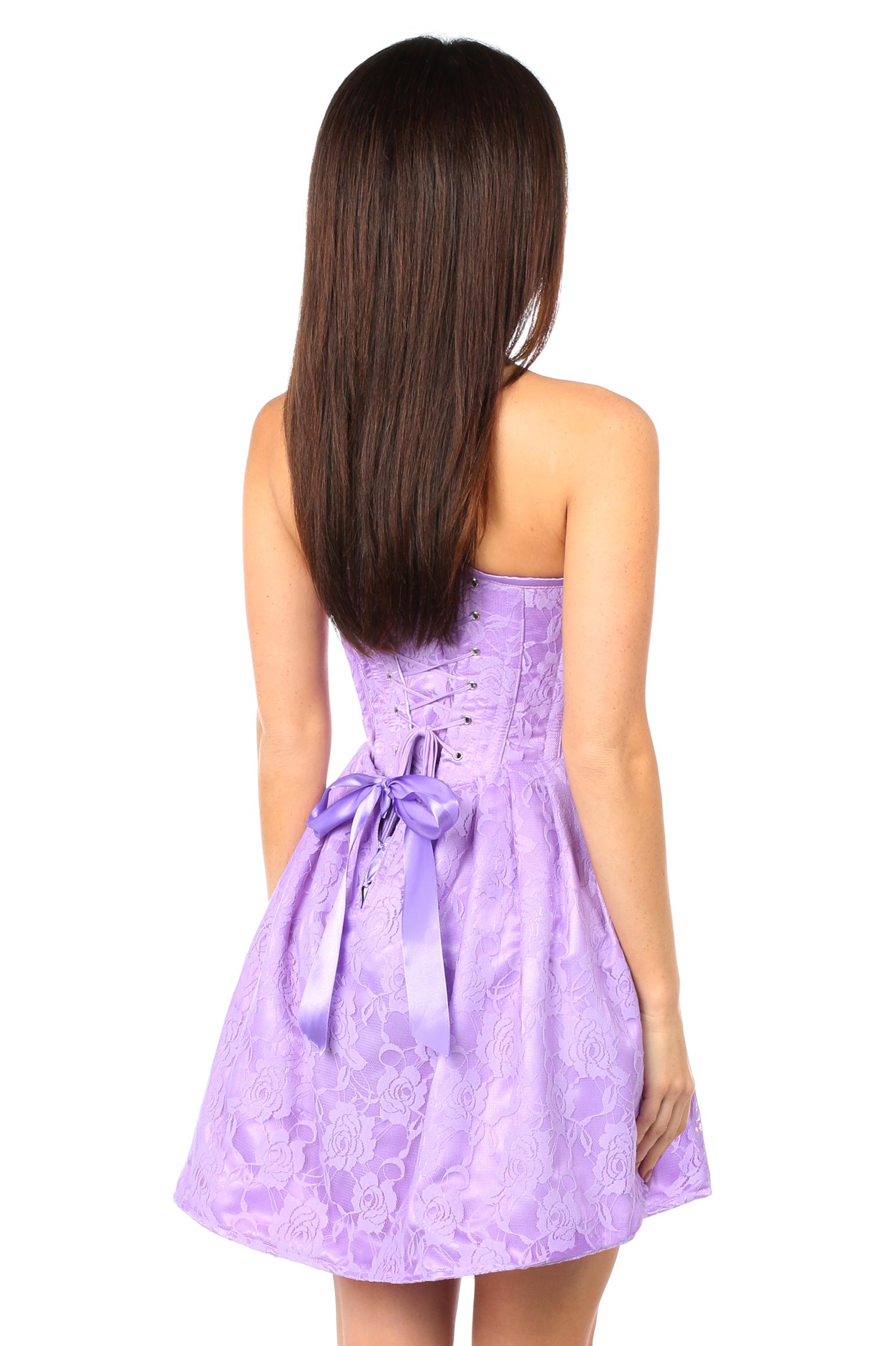 Top Drawer Steel Boned Lilac Lace Empire Waist Corset Dress DASTD-597
