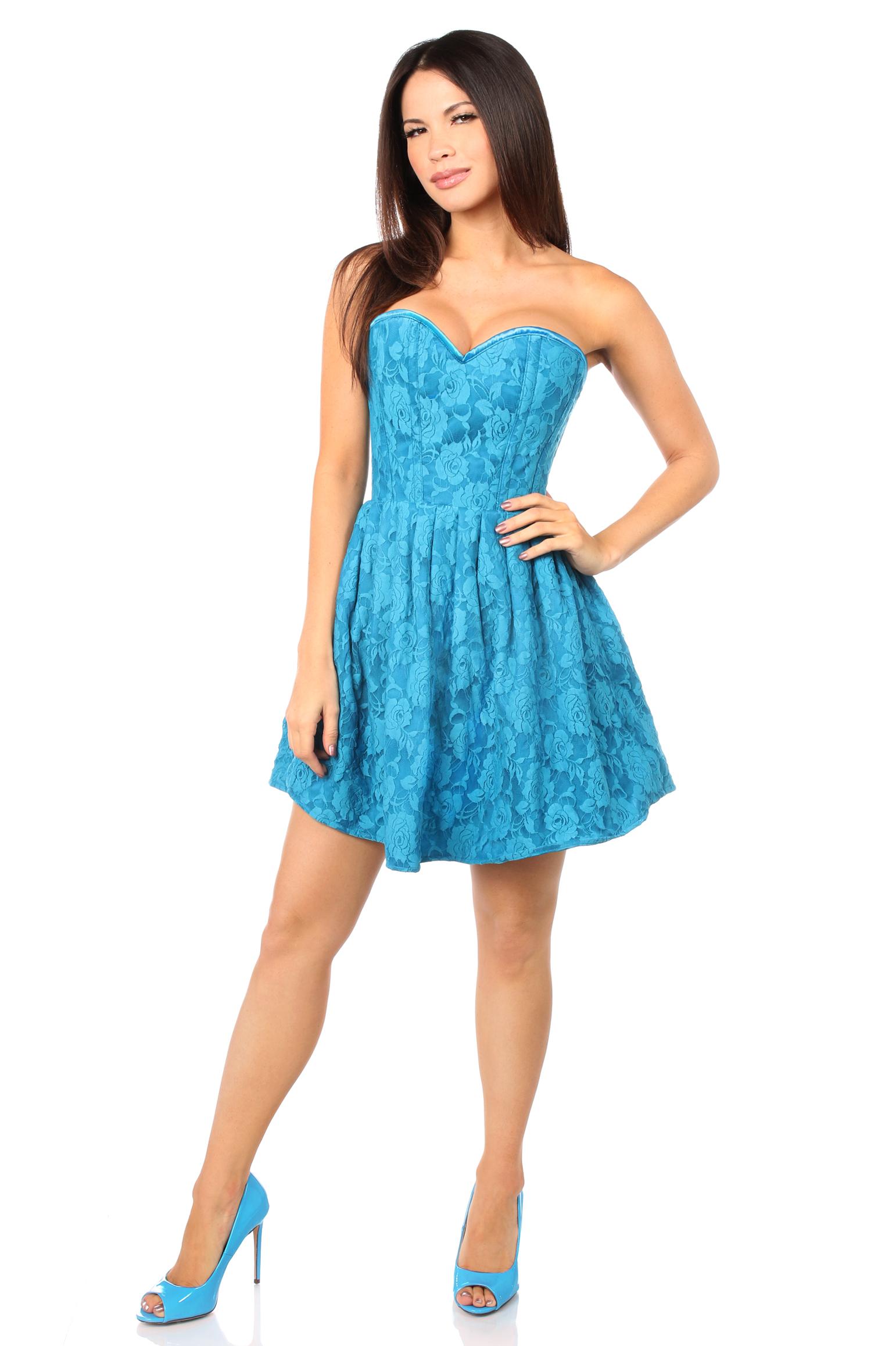 Top Drawer Steel Boned Teal Lace Empire Waist Corset Dress DASTD-599