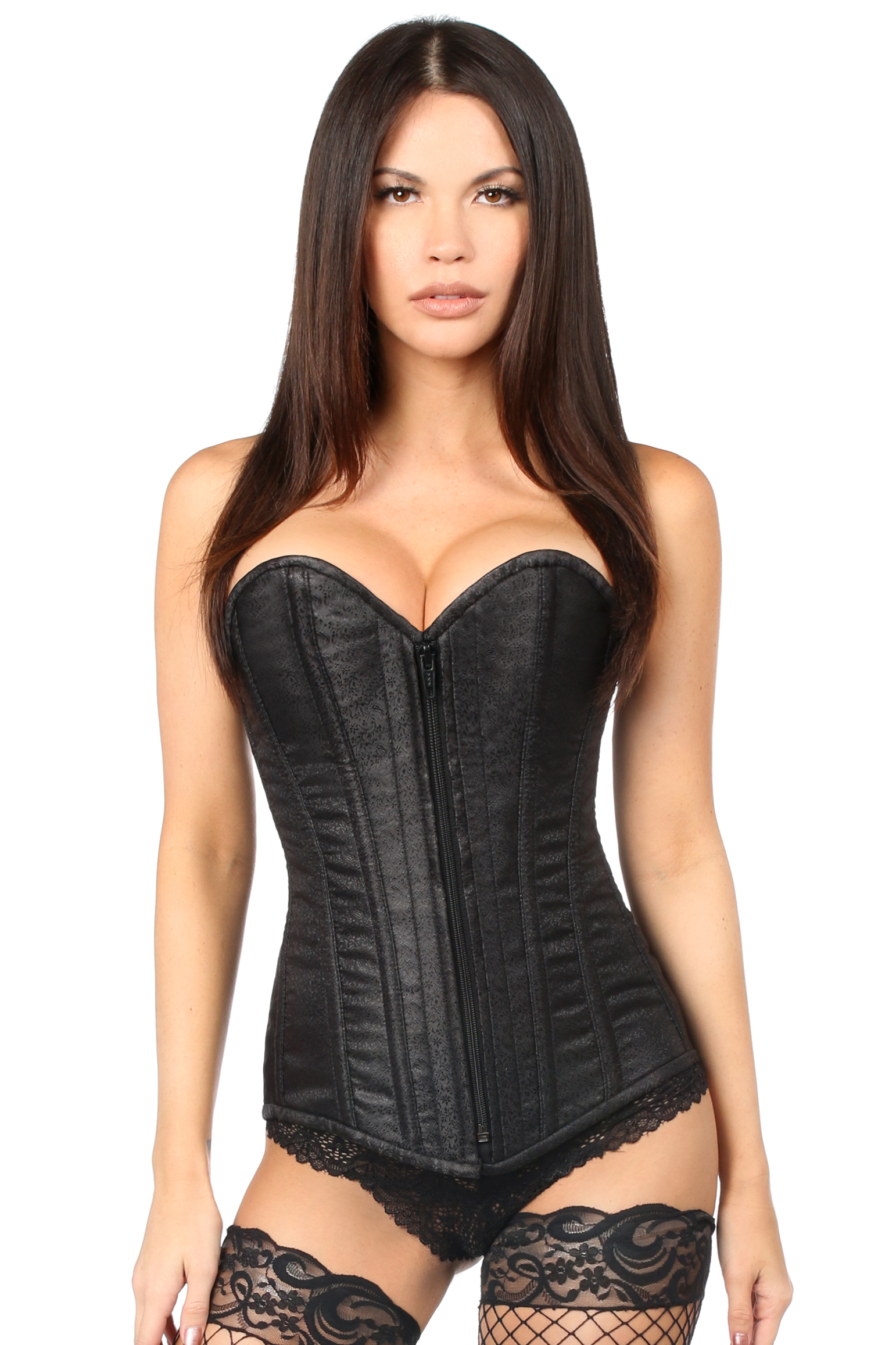 Top Drawer Black Brocade Steel Boned Corset DASTD-694