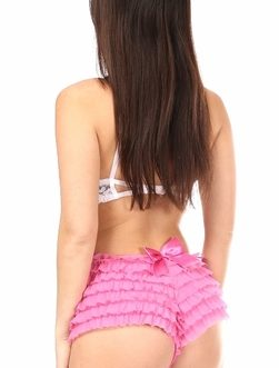 Daisy Ruffled Satin Bow Panty- Pink- XL