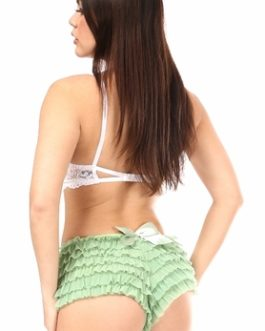 Daisy Ruffled Satin Bow Panty- Mint Green- XL