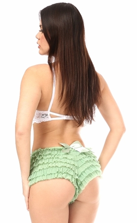 Daisy Ruffled Satin Bow Panty- Mint Green- Large SATINBOWMGRN-L