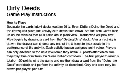 Dirty Deeds Game For Lovers LG-BG040