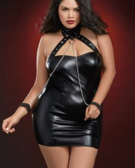 Dreamgirl Collared Mini Dress w/ Chained Cuffs- Black- Queen