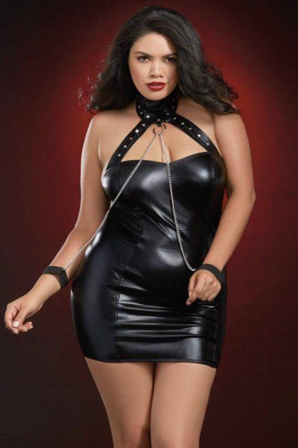 Dreamgirl Collared Mini Dress w/ Chained Cuffs- Black- Queen DRMG-11526X-BLK