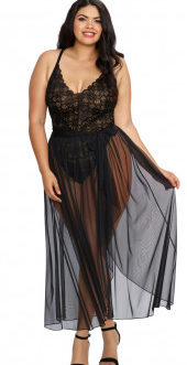 Dreamgirl Mosaic Lace Teddy w/ Sheer Mesh Skirt- Black- 2X
