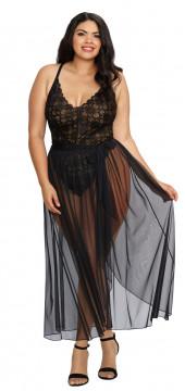 Dreamgirl Mosaic Lace Teddy w/ Sheer Mesh Skirt- Black- 2X DG-10996X-BLK-2X