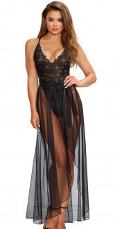 Dreamgirl Mosaic Lace Teddy and Sheer Mesh Skirt- Black- Medium
