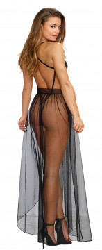 Dreamgirl Mosaic Lace Teddy and Sheer Mesh Skirt- Black- Small DG-10996-BLK-S