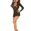 Elegant Moments Sparkle Swirl Lace Deep V Mini Dress- One Size 1425-EM