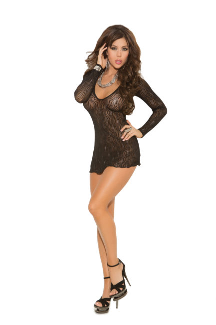 Elegant Moments Sparkle Swirl Lace Deep V Mini Dress- One Size 1409-EM