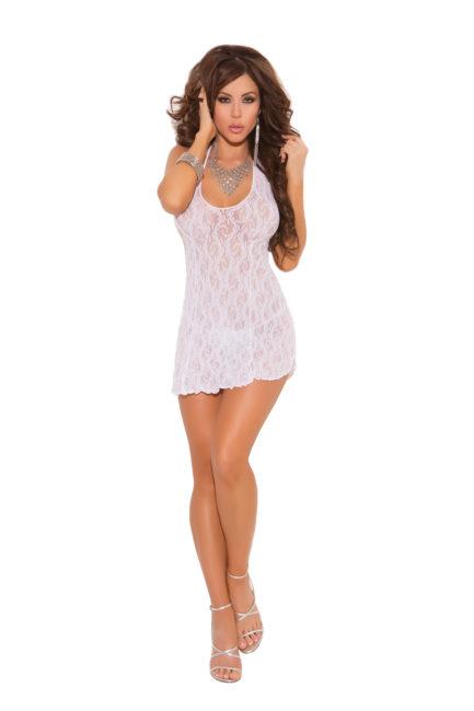 Elegant Moments Lace Halter Mini Dress- White- One Size 1422WHT-EM