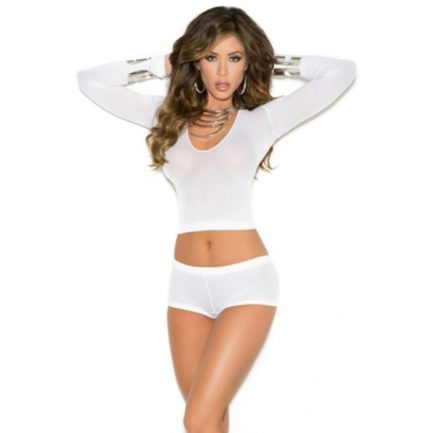 Elegant Moments Long Sleeve Opaque Cami and Booty Shorts- White- One Size 1524-EM