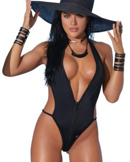 Elegant Moments Lycra Zip Front Halter Neck Monokini- Black- One Size