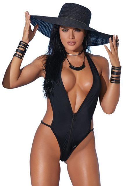 Elegant Moments Lycra Zip Front Halter Neck Monokini- Black- One Size EM-82177