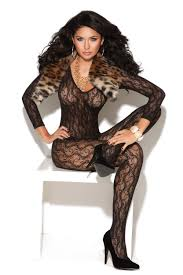 Elegant Moments Lace Bodystocking -Black- One Size