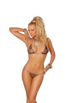 Elegant Moments Mesh Bikini Top and Matching G-String w/ Animal Trim- One Size EM-8960