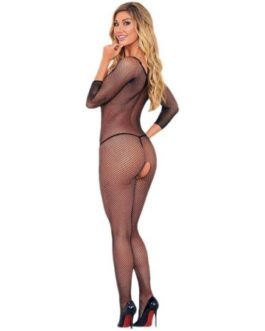 Escante Fishnet Long Sleeved Body Hose- Black- OS