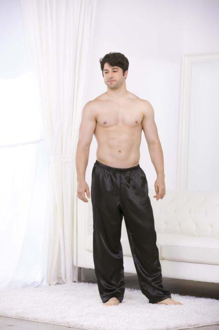 Escante Men's Satin Lounge Pants- Black- 2XL E20261-2XL