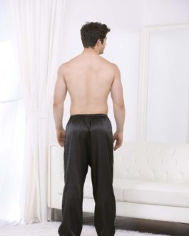 Escante Men's Satin Lounge Pants- Black- 2XL