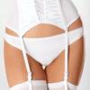 Escante Satin & Lycra Garterbelt- Hi Waisted with Boning- White- Small E2071-BLK-S