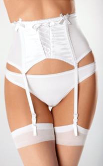 Escante Satin & Lycra Garterbelt- Hi Waisted with Boning- White- Small E2071-WHT-S