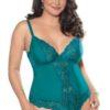 Escante Lace & Mesh Underwire Teddy w/ Cotton-Lined Crotch- Green- 1X E26408-GRN-S