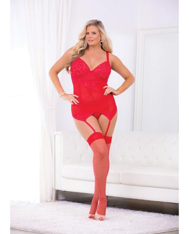Escante Chemise with Matching G-String and Thigh Highs- Red- 3X 34771XH-3X