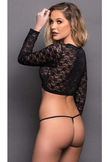 Escante Long Sleeved Lace Crop Top- Black- Queen E56120-Q
