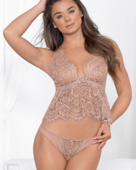 Escante Eyelash Lace Cami Set- Dusty Rose- XL