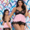 Escante Satin & Eyelash Trimmed Babydoll w/ G-String- Pink/Black- Small E61064-PNK/BLK-M