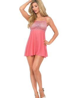 Escante Lace and Sheer Babydoll w/ Matching G-String- Coral- 1X