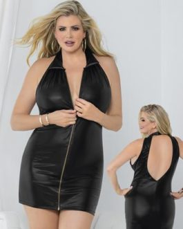 Escante Liquid Dress- Black- 3X