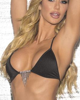 Escante Fusions Rhinestone Cascading Bikini Top- Black- One Size