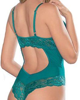 Escante Lace & Mesh Underwire Cotton Crotch Lined Teddy- Green- Small