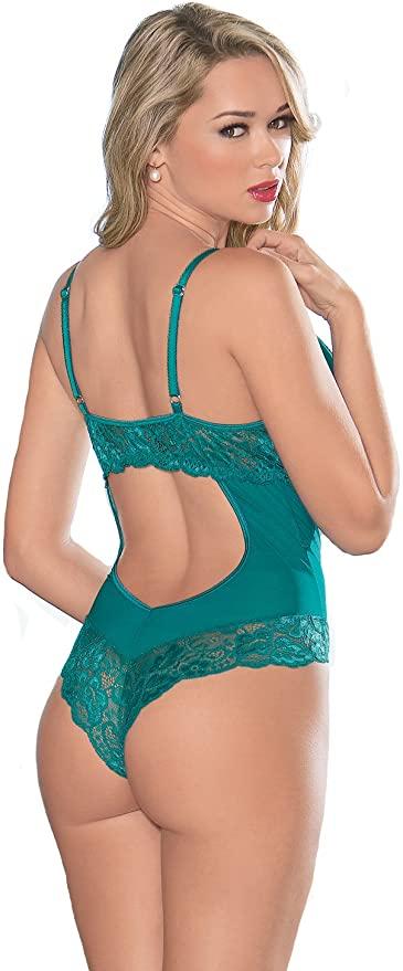 Escante Lace & Mesh Underwire Cotton Crotch Lined Teddy- Green- Small E26408-GRN-S